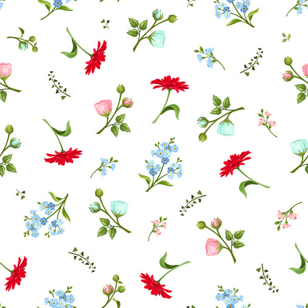 floret: Vector seamless pattern with red pink and blue gerbera ranunculus and forgetmenot flowers on a white background. Illustration