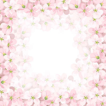 Vector background with pink apple flowers. Illustration