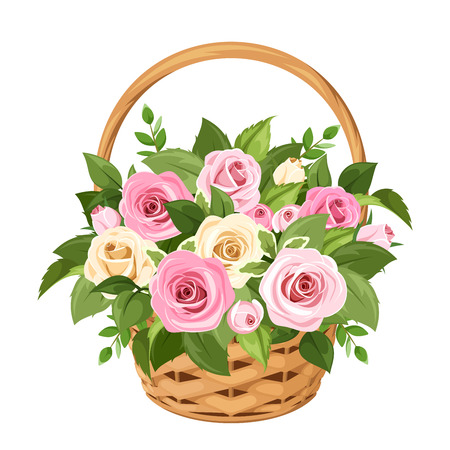 Vector basket with pink and white roses and green leaves isolated on a white background Vectores