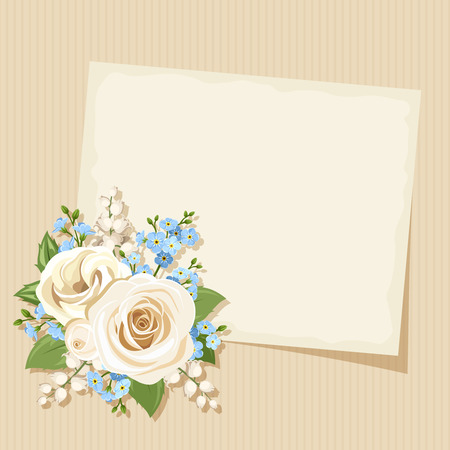 Vector vintage card with white and blue roses lisianthuses lily of the valley and forgetmenot flowers on a beige cardboard background. Illustration