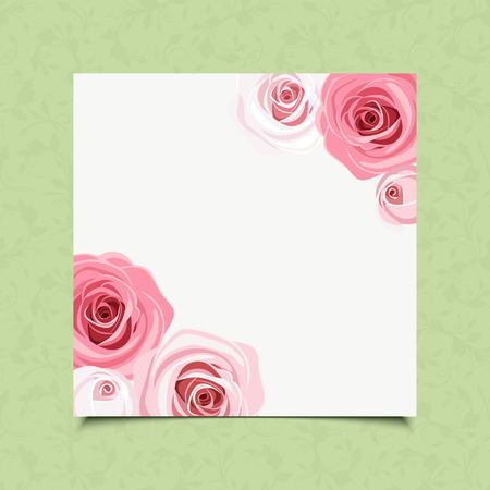 rosebud: white card with pink roses on a green background. Illustration