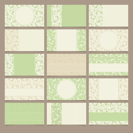 fifteen: fifteen vintage green and beige business cards with floral patterns. Illustration