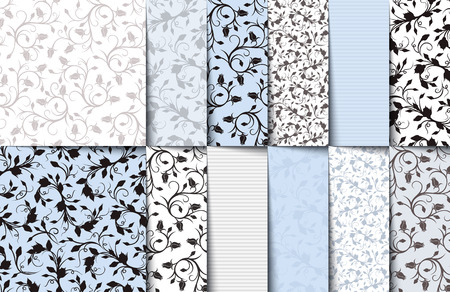 Set of blue, white and gray seamless floral patterns.