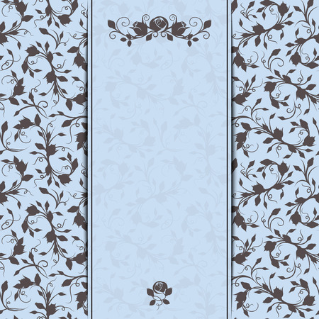 blue card: Vector blue and brown invitation card with floral pattern.