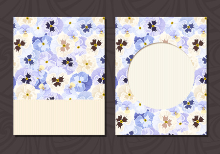 pansies: Vector flyer card with blue, white and purple pansy flowers.