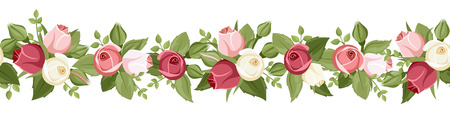 Vector horizontal seamless background with red, pink and white rose buds and green leaves on a white background.