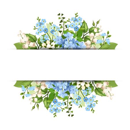 white lily: Vector de fondo horizontal con flores azules y blancas y hojas verdes.