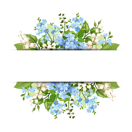 Vector horizontal background with blue and white flowers and green leaves. Stock Illustratie