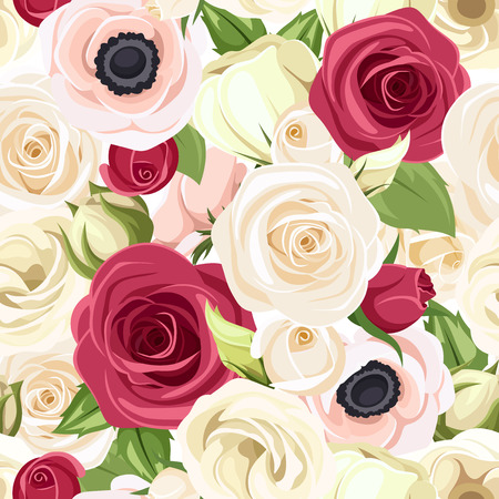 red pink: Seamless background with red, pink and white flowers. Vector illustration. Illustration