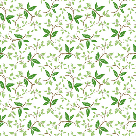 Seamless floral pattern with green leaves. Vector illustration.