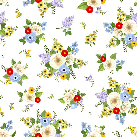 Vector seamless pattern with red, blue, purple, yellow and white flowers and green leaves on a white background. Illustration