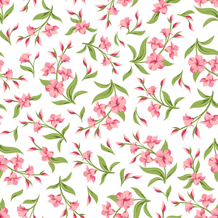 Vector seamless pattern with pink flowers and green leaves on a white background. Illustration