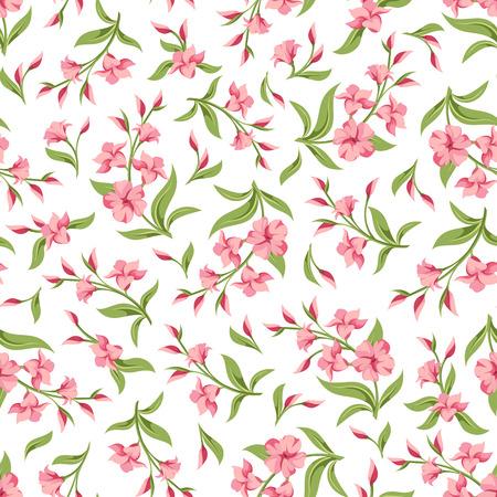 Vector naadloze patroon met roze bloemen en groene bladeren op een witte achtergrond.