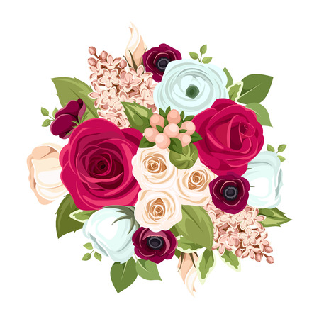 赤、白、青のバラ、lisianthuses、ラナンキュラス、ライラックの花と緑の葉が付いているベクトル花束。