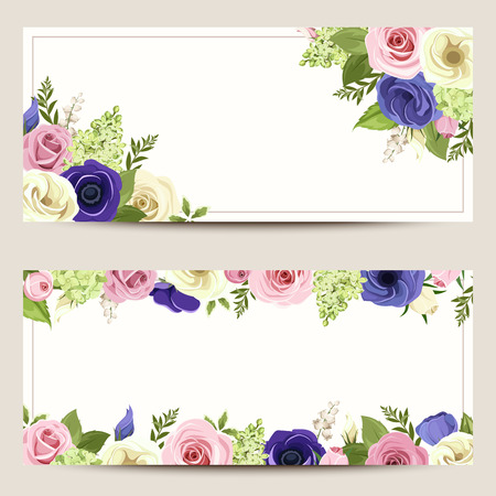 Vector invitation cards with pink, blue and white roses, lisianthuses and anemone flowers. Vettoriali