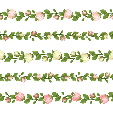 Vector set of five horizontal seamless garlands with pink and white flowers and green leaves on a white background.