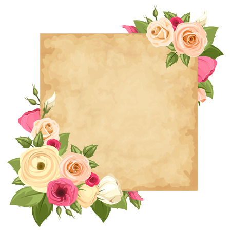 orange roses: Vector parchment card with pink and orange roses, lisianthuses and ranunculus flowers and green leaves.  Illustration