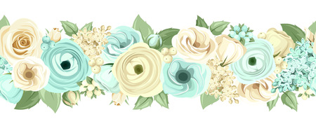 Vector horizontal seamless background with blue and white roses, lisianthuses, ranunculus, lilac flowers and green leaves. Çizim