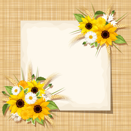 Vector beige card with sunflowers, daisy flowers and ears of wheat on a sacking background.