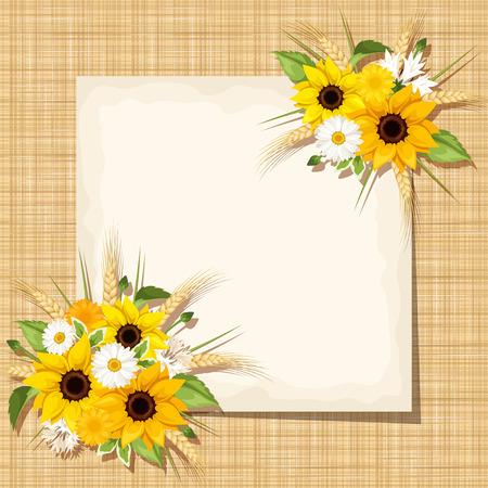 Vector beige Karte mit Sonnenblumen, Gänseblümchen und Ohren der Weizen auf einem Sackleinen Hintergrund.