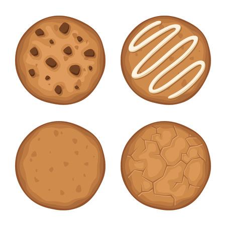 chocolate cookie: Vector conjunto de cuatro galletas redondas aisladas en un fondo blanco.