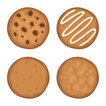 chocolate chips cookies: Vector set of four round cookies isolated on a white background.
