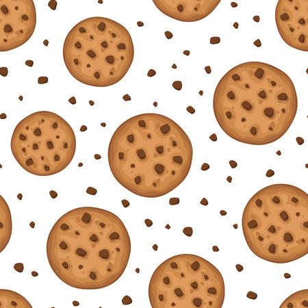 galleta de chocolate: Vector de fondo sin fisuras con las galletas redondas sobre un fondo blanco.