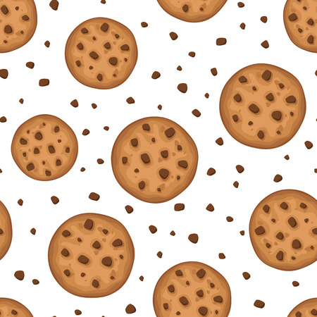 chocolate chip: Vector seamless background with round cookies on a white background.