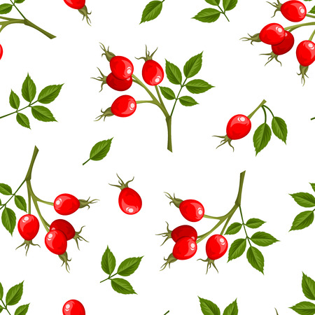Vector seamless pattern with red rosehip berries and green leaves on a white background.