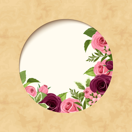 Invitation parchment card with red and pink roses. Vector eps-10.