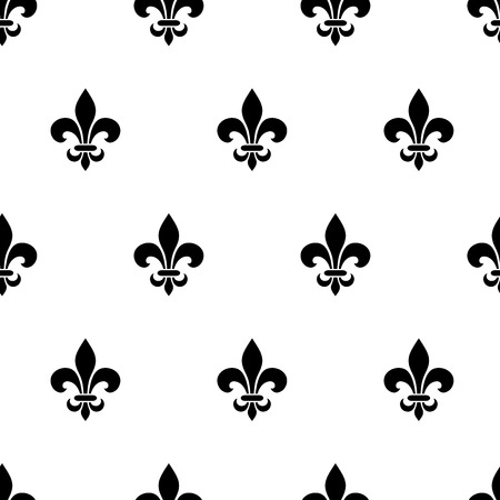 Vector seamless black and white pattern with fleur-de-lis symbols.