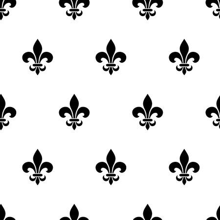 Vector naadloos zwart-wit patroon met fleur-de-lis symbolen.