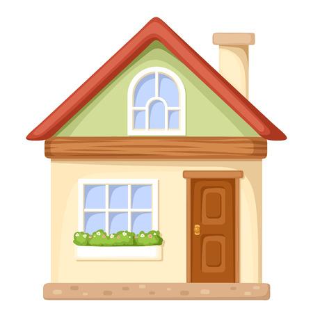 finestra: Illustrazione vettoriale di una casa di cartone animato isolato su uno sfondo bianco. Vettoriali