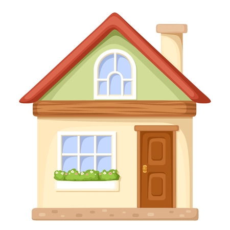 house facades: Vector illustration of a cartoon house isolated on a white background.