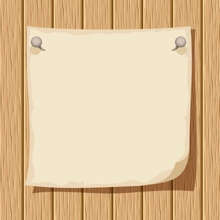 wood sign: Beige nailed paper sheet on a wooden background. Vector illustration.