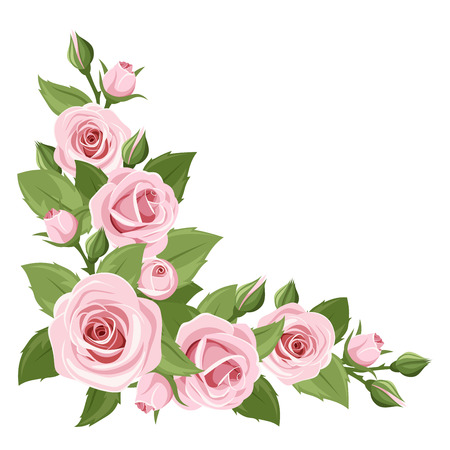 background with pink roses and green leaves.