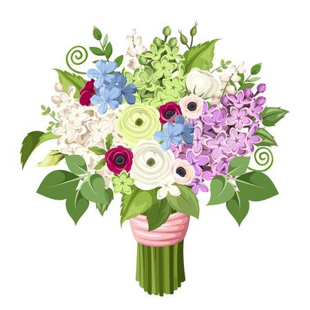 紫、白、青、緑のライラック色の花、アネモネ、ラナンキュラスの花と葉の花束。