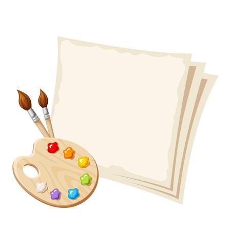 paleta de pintor: Herramientas del arte con los papeles en blanco