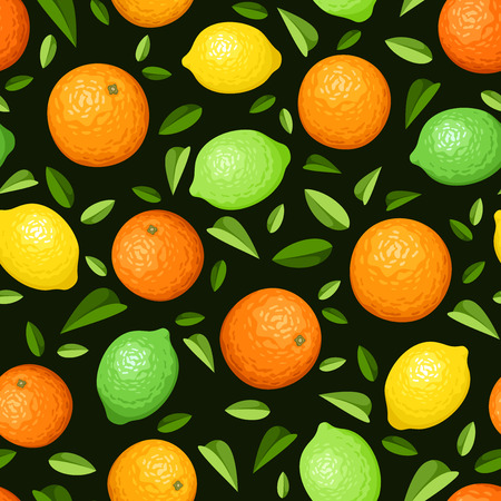 oranges: Vector seamless background with oranges, lemons, limes and leaves on black. Illustration