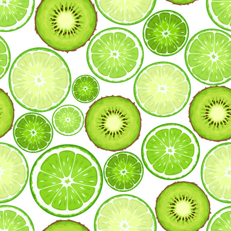 crop circle: Vector seamless background with green kiwi and lime slices on white.