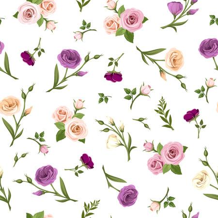 flores moradas: Modelo inconsútil del vector con color de rosa, púrpura, naranja y rosas blancas y flores de lisianthus sobre un fondo blanco.
