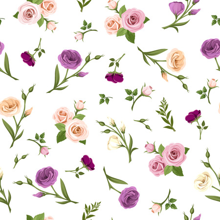 Vector seamless pattern with pink, purple, orange and white roses and lisianthus flowers on a white background.