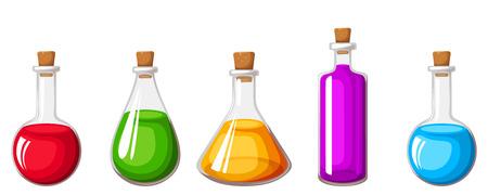 pocima: Vector conjunto de frascos de vidrio con líquidos de colores aislados sobre un fondo blanco.