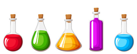 magic potion: Vector set of glass flasks with colorful liquids isolated on a white background.