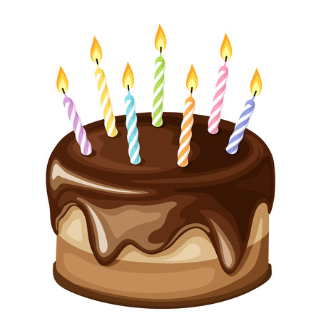 Vector chocolate birthday cake with colorful candles isolated on a white background.