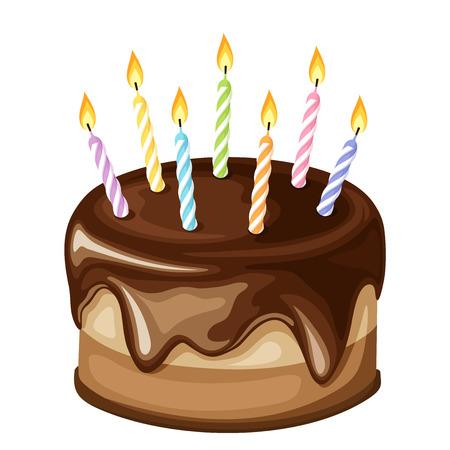 Vector chocolade verjaardagstaart met kleurrijke kaarsen geïsoleerd op een witte achtergrond.