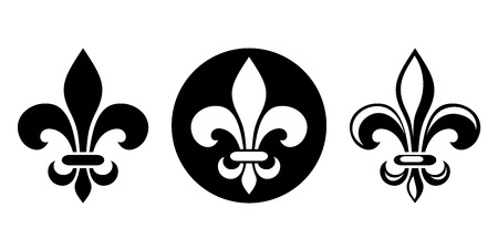 french: Vector set of three black silhouettes of lily flowers fleur-de-lis on a white background.