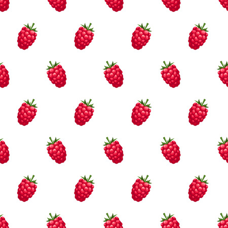 raspberries: Vector seamless pattern with red raspberries on a white background.