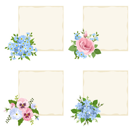 pansies: Set of four vector beige cards with pink and blue forget-me-not flowers, pansies, lisianthus and plumbago flowers.