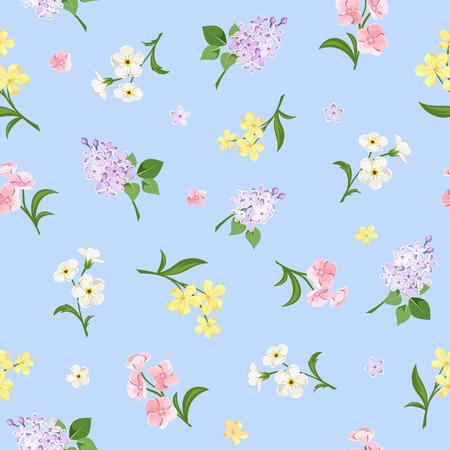 青色の背景にピンク、黄色、白、紫の花を持つベクターのシームレスなパターン。
